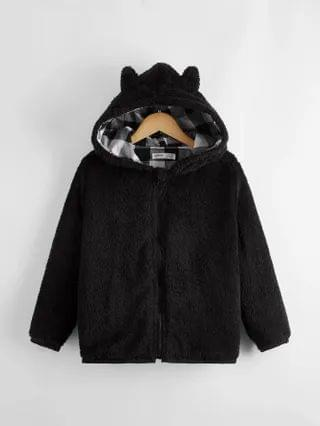 KIDS Gingham Panel Lining Teddy Hooded Jacket With Ear