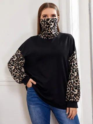 WOMEN Plus Leopard Mask Turtle Neck and Sleeve Pullover
