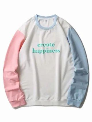 MEN Slogan Graphic Color Block Sweatshirt