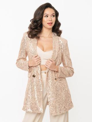 WOMEN Champagne & Rose Gold Sequin Double Breasted Blazer