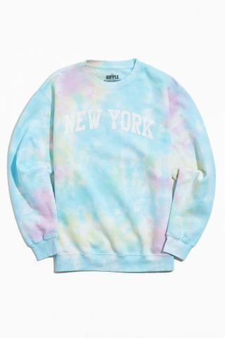 MEN New York Collegiate Tie-Dye Crew Neck Sweatshirt