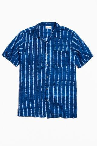 MEN Raga Man Tie-Dye Stripe Short Sleeve Button-Down Shirt