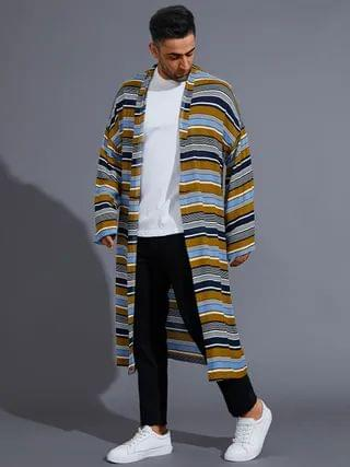 WOMEN Casual Fall Multicolor Striped Color Block Long Length Cardigan