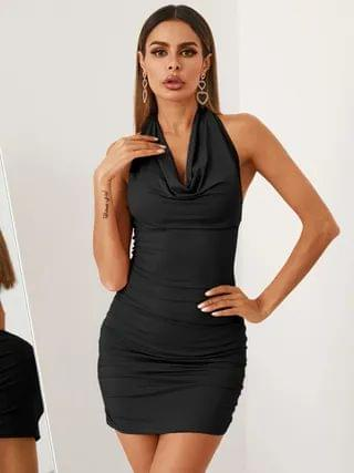WOMEN YOINS Sexy Backless Tie-up Design Drape Sagging Sleeveless Ruched Dress
