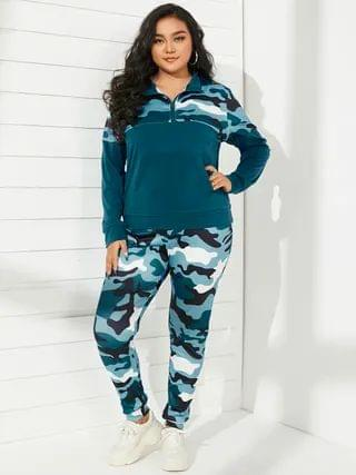 WOMEN Plus Size Stand Collar Camo Zip Front Long Sleeves Two Piece Outfit