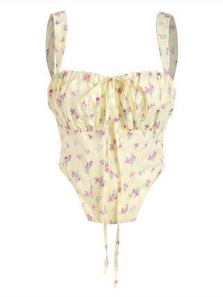 WOMEN Floral Zip Back Boned Ruched Crop Top - Light Yellow S