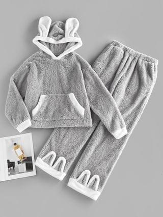 WOMEN Kangaroo Pocket Hooded Plush Colorblock Bunny Pajama Pants Set - Dark Gray S