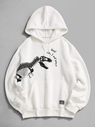 MEN Fleece Lined Dinosaur Skeleton Hoodie - White Xl