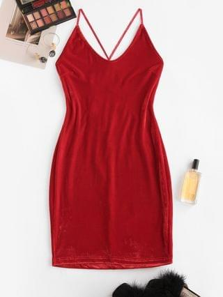 WOMEN Straps Lace-up Velvet Bodycon Cami Dress - Red M