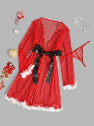 WOMEN Belted Faux Feather Christmas Lingerie Robe Dress - Red