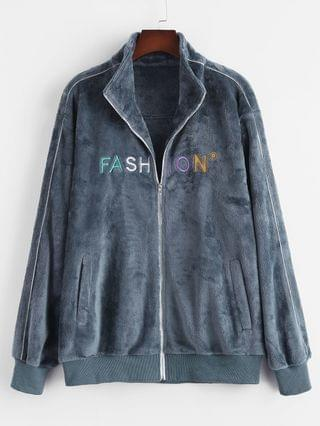 MEN Zip Up FASHION Embroidered Fluffy Jacket - Blue Gray L