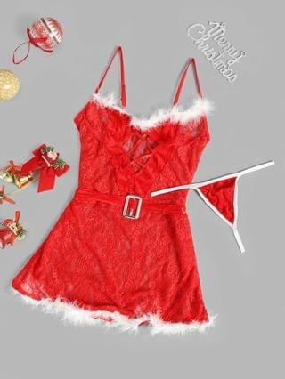 WOMEN Faux Feather Lace Christmas Lingerie Babydoll - Red