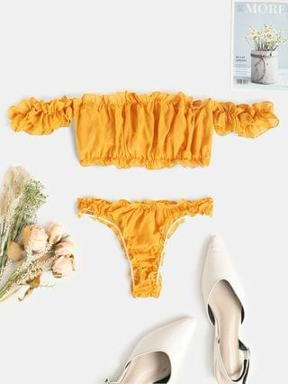 WOMEN Off The Shoulder Frilled Ruched Lingerie Set - Deep Yellow L