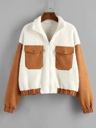 WOMEN Patchwork Suede Panel Teddy Coat - White L