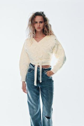 WOMEN CABLE-KNIT JACKET