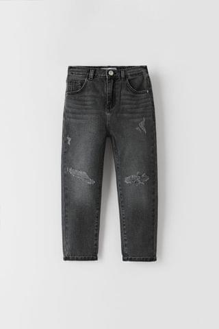 KIDS RIPPED MOM FIT JEANS