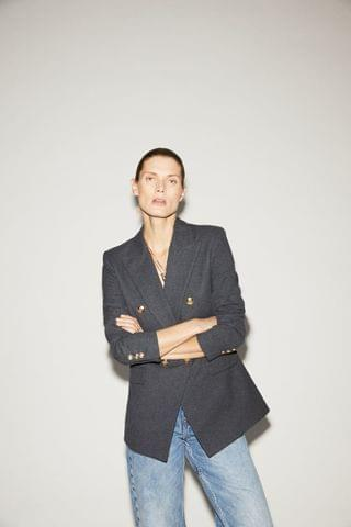 WOMEN DOUBLE BREASTED BUTTONED BLAZER