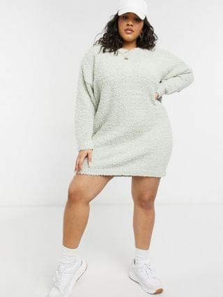 WOMEN COLLUSION Plus Exclusive textured sweater dress in light blue