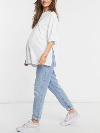 WOMEN Maternity super oversized T-shirt with side slits in white