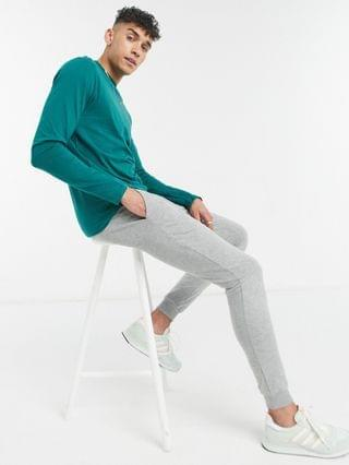 MEN Tall long sleeve t-shirt with crew neck in dark green