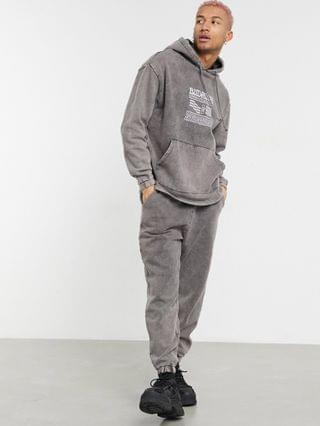 co-ord tracksuit in grey acid wash with chest print