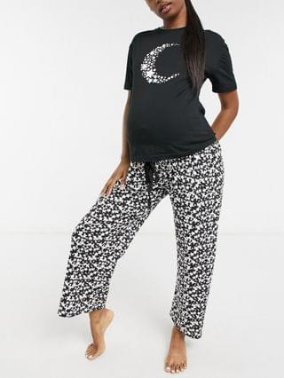 WOMEN Wednesday's Girl Maternity pajama tee and pants set in celestial moon and star print
