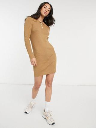 WOMEN Vila knitted polo dress with button detail in tan