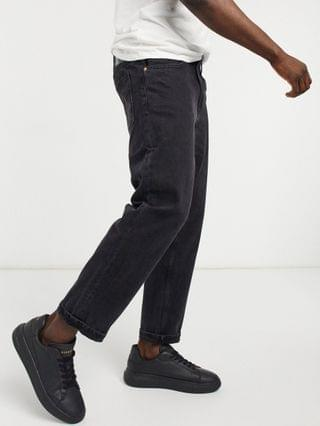 Bershka straight leg vintage fit jeans in washed black