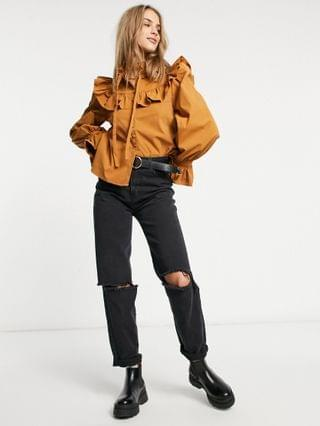 WOMEN Fashion Union blouse with ruffle collar