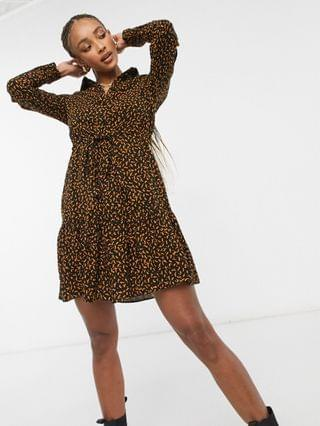 WOMEN New Look tiered shirt dress in black abstract print