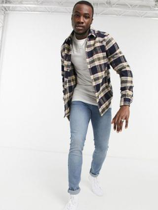 Tall overshirt in wool mix navy check