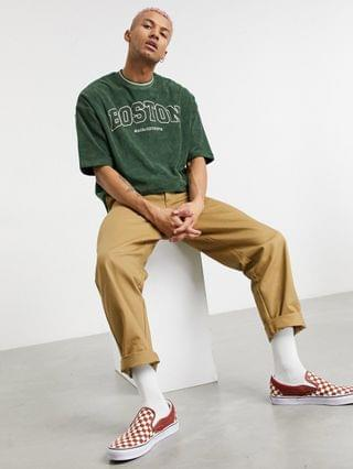 MEN oversized t-shirt in khaki terrycloth with city print