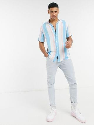 Hollister Pride striped rayon short sleeve shirt in white