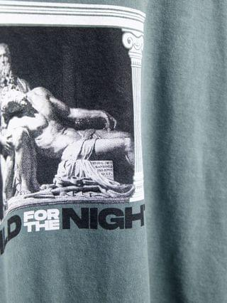 New Look oversized t-shirt with wild night art print in light green