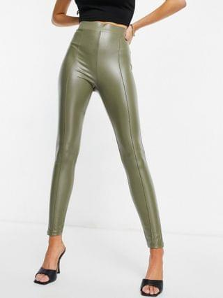 WOMEN leather look leggings with pintuck in olive