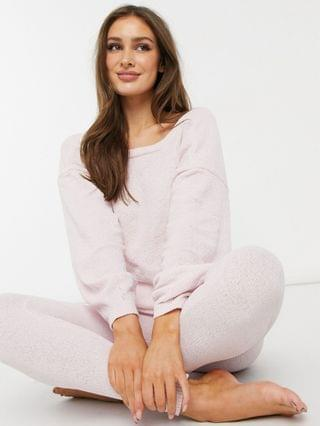 WOMEN lounge matching chenille twist back sweatshirt in pink