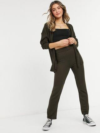 WOMEN longline cardigan and knitted pants set in brown