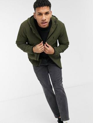 Polo Ralph Lauren Ascent polo player logo poly filled hooded nylon jacket in signature olive