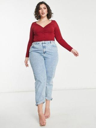 WOMEN Curve v neck bodysuit with long sleeve and ruching in burgundy