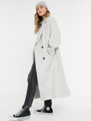 WOMEN oversized brushed throw-on coat in gray