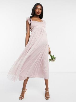 WOMEN Anaya With Love Maternity Bridesmaid tulle frill sleeve midaxi dress in pink