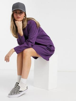 WOMEN oversized long sleeve t-shirt dress in aubergine