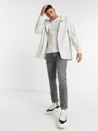 MEN Rains lightweight hooded jacket in off white
