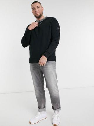 Calvin Klein Big & Tall exclusive to neck logo relaxed fit sweatshirt in black