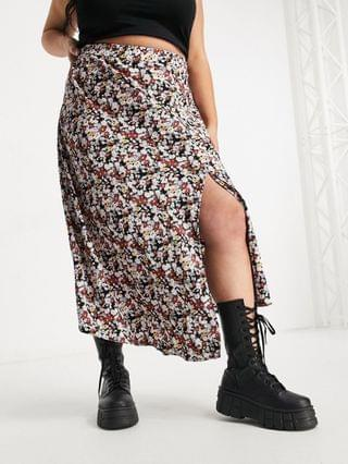 WOMEN Fashion Union Plus midi pleated skirt with thigh slit in wild floral print