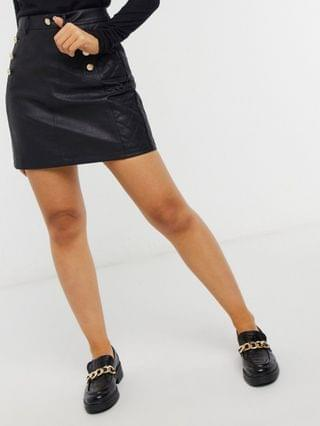 WOMEN River Island Petite button detail quilted faux leather mini skirt in black