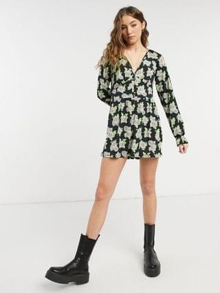 WOMEN spaced floral button front tea romper