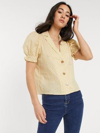 WOMEN Fashion Union Exclusive coordinating beach shirt with puff sleeves in mustard wave
