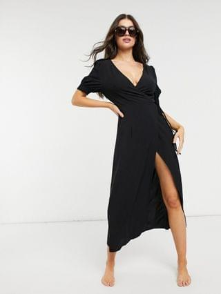 WOMEN Fashion Union Exclusive beach wrap dress in black