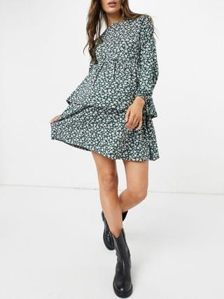 WOMEN Wednesday's Girl Maternity long sleeve smock dress in vintage floral